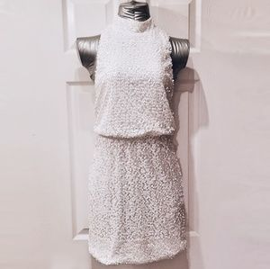 White Sequined Mini Dress